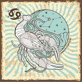 Cancer  Zodiac Sign.vintage Horoscope Card