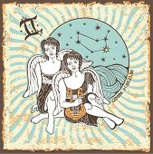 Gemini Boys Zodiac Sign.vintage Horoscope Card