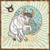 Taurus Zodiac Sign.vintage Horoscope Card
