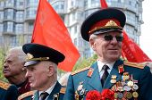 Old veterans come to celebrate Victory Day to memorial of uknown sailor,Odessa,Ukraine