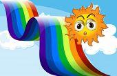 Illustration of a rainbow beside the sun