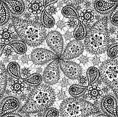 Seamless pattern with snowflakes and cucumbers