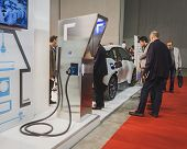 Charging Station On Display At Solarexpo 2014 In Milan, Italy