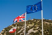 Flags Of The European Union, United Kingdom And Gibraltar
