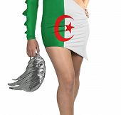 Futuristic Young Woman With Flag From Algeria On Her Dress