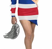 Futuristic Young Woman With Flag From Costa Rica On Her Dress