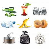 stock photo of landfill  - Garbage and waste icons detailed photo - JPG