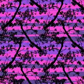 Seamless floral vector pattern with trees