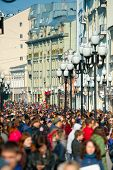 MOSCOW - April 13: Many people walking on the famous Arbat street on April 13, 2014 in Moscow. This