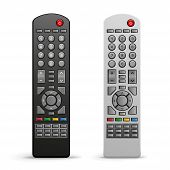 stock photo of controller  - The black and white tv remote controller on the white background - JPG