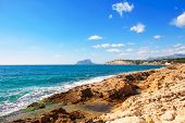 Ifach Penon view from Moraira alicante in Mediterranean Spain