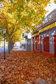 Benassal street in autumn Benasal in Maestrazgo Castellon Spain