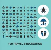 travel, recreation, vacation icons, signs set, vector