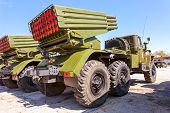 Samara, Russia - May 8, 2014: Bm-21 Grad 122-mm Multiple Rocket Launcher On Ural-375D Chassis