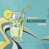 Retro background with soda cocktail glass