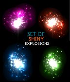Explosion with sparkles vector design collection. Glowing color space explosions easy to edit