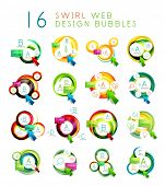 Mega collection of swirl web design infographic bubbles - flat concept.
