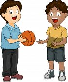 Illustration of a Boy Sharing His Basketball with His Friend