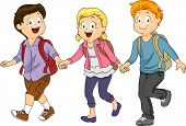 Illustration of Kids Holding Hands While Walking to School
