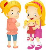 stock photo of playmate  - Illustration of a Little Girl Jealous Over Her Playmate - JPG