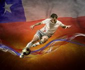 Abstract waves aroun soccer player on the national flag of Chili
