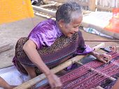 Old lady weaving Flores Indonesia