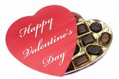 Heart Shaped Box of Valentine Candy with Happy Valentine's Day Text