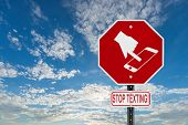 Stop Texting Icon Sign - Blue Sky With Clouds