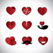 Origami Style Heart Icons Collection Set - Concept Vector Graphic