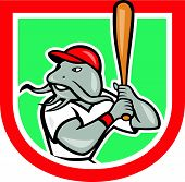 Catfish Baseball Hitter Batting Cartoon Shield