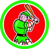 Elf Baseball Player Bat Circle Cartoon