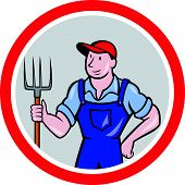 Farmer Holding Pitchfork Circle Cartoon