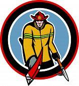 Fireman Carry Axe Hook Pike Pole Circle