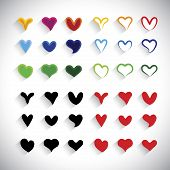 Flat Design Colorful Heart Icons Collection Set - Vector Graphic