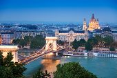 stock photo of hungarian  - Panorama with Chain Bridge - JPG