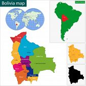 Colorful Bolivia map with regions and cities