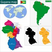 Map of the Co-operative Republic of Guyana with the regions colored in bright colors and the main ci