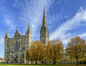 Salisbury Cathedral On A Sunny Autumn Day