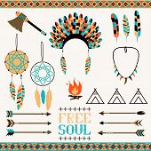 Arrows, Indian elements, Aztec borders and embellishments