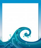 Illustration of an empty template with blue waves
