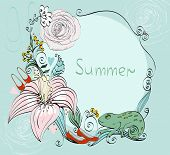 stock photo of chameleon  - illustration of a colorful chameleon and blooming summer flowers - JPG