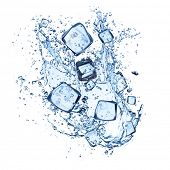 ice cubes with water splashes isolated on white background