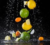Isolated shot of falling citrus fruit in water splashes on black background