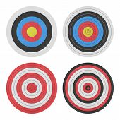 Paper Cut Of Target Icon For Gun Shooting Sport And Military On White Background