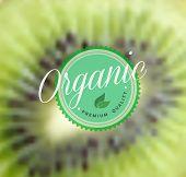 Organic Food Retro Label Kiwi Blurred Background
