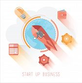 Digitally generated start up business graphic with icons
