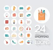 Digitally generated shopping and retail icons on grey