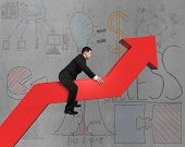 Businessman Riding On Red Arrow With Business Doodles Background