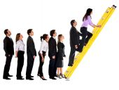 Business Group Climbing A Ladder