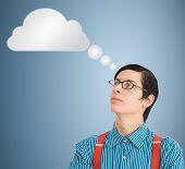 Nerd Geek Businessman Thinking Cloud Or Computing